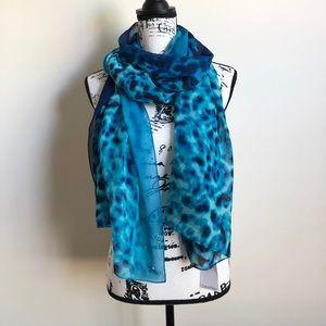 Calvin Klein Ocean Blue Print Scarf Wrap